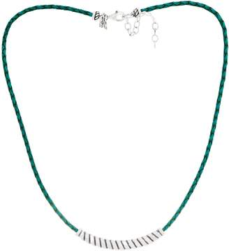American West Sterling Silver Braided Leather w/Rope Station Necklace
