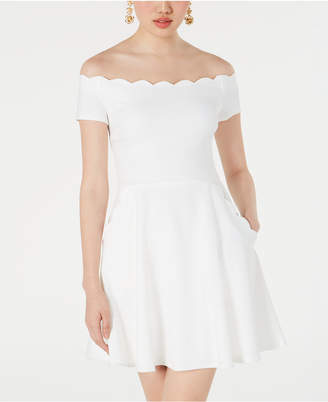 B. Darlin Juniors' Off-The-Shoulder Scalloped Dress