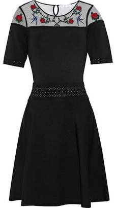 Sandro Chaza Appliquéd Tulle-Paneled Stretch-Knit Dress