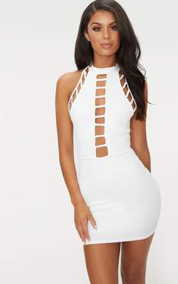 PrettyLittleThing Black High Neck Lattice Detail Bodycon Dress