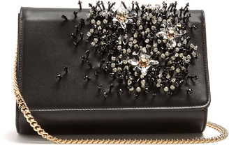 LANVIN Crystal-embellished leather clutch $1,695 thestylecure.com