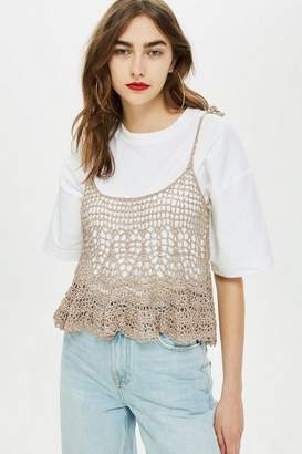 Topshop MeTallic Crochet Swing Top