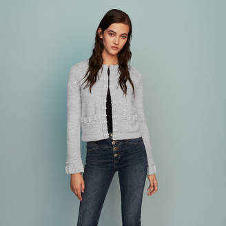 Maje Wool-blend cardigan with pearls