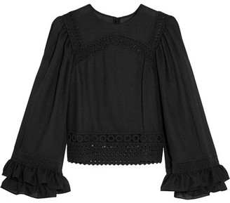 McQ Alexander McQueen - Ruffled Broderie Anglaise Cotton-trimmed Crepe Top - Black $480 thestylecure.com