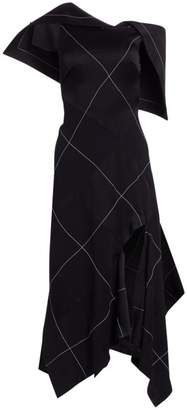 Monse Asymmetric Argyle Midi Dress