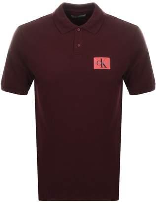 Calvin Klein Jeans Monogram Polo T Shirt Burgundy