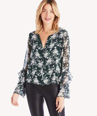 Sole Society L/S Ruffle Slv Forest Delicate Blouse