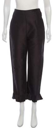 Isa Arfen High-Rise Ruffle-Trimmed Pants w/ Tags