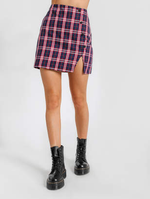 Beyond Her Yearn Check Skirt in Navy Red