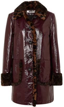 McQ Leopard-print Faux Fur-trimmed Coated-cotton Coat