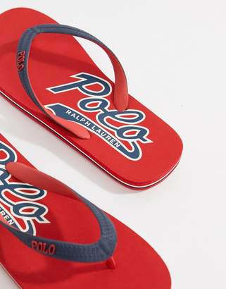 Polo Ralph Lauren Wittlebury Thongs Logo In Red/Navvy