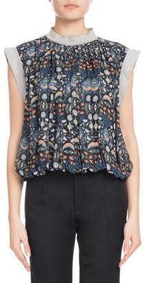 Chloé Blossom-Print Viscose Georgette Blouse with Bubble Hem