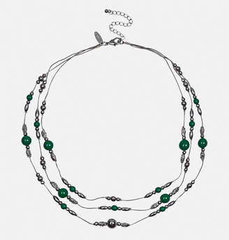 Avenue Green Beaded Stone Texture Necklace