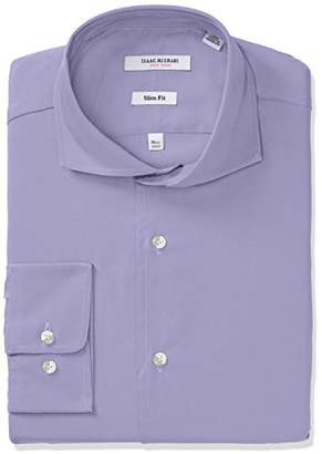 Isaac Mizrahi Men's Slim Fit Solid Broadcloth Cut Away Collar Dress Shirt