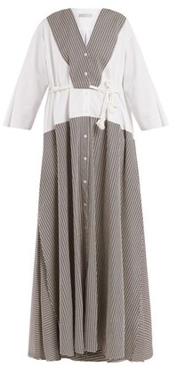 Palmer Harding Palmer//Harding Palmer//harding - Contrast Panel Seersucker Dress - Womens - Brown Multi