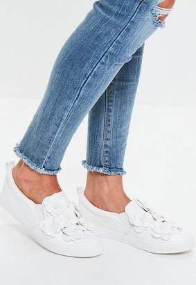 Missguided White Flower Slip On Sneakers