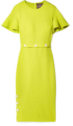 Lela Rose Convertible Wool-blend Crepe Midi Dress - Chartreuse