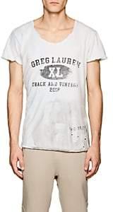 Greg Lauren Men's Tie-Dyed Distressed Cotton T-Shirt - White