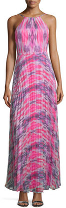Laundry By Shelli Segal Halter-Neck Plisse-Skirt Gown, Chrome $345 thestylecure.com