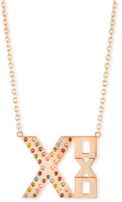 XOXO Stevie Wren 14k Rose Gold Rainbow Diamond Necklace