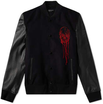 Alexander McQueen Leather Sleeve Skull Embroidered Bomber