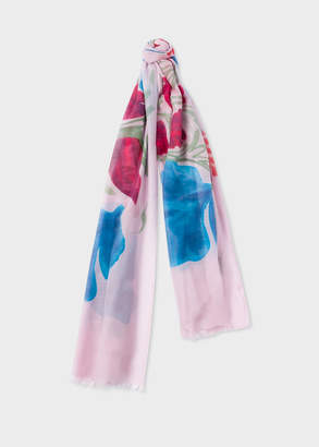 Paul Smith Women's Pink 'Hand-Painted Floral' Silk-Blend Scarf