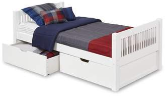Camaflexi Twin Size Platform Bed with Drawers - Mission Headboard - White Finish
