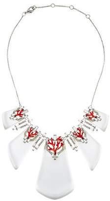 Alexis Bittar Coral Deco Crystal Baguette Bib Necklace
