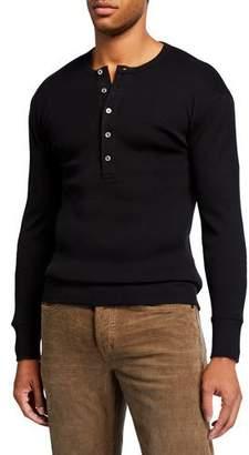 Tom Ford Men's Long-Sleeve Cotton Henley Shirt