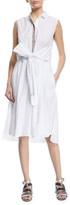 Brunello Cucinelli Sleeveless Cotton Wrap-Front Shirtdress With Embroidered Placket
