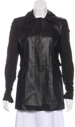 Akris Punto Leather Button-Up Jacket