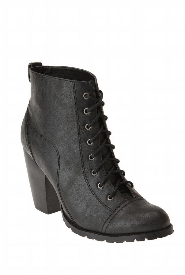 Deena & Ozzy Lace-Up Tread Bottom Bootie Heel