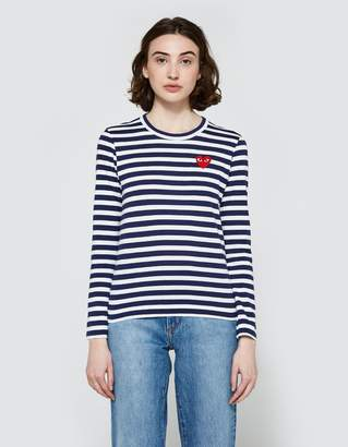 Comme des Garcons Play Striped T-Shirt in Navy