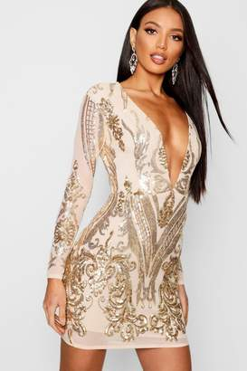 17238bf6 boohoo Boutique Sequin Mesh Bodycon Dress