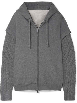 Stella McCartney Oversized Cotton-jersey And Wool And Alpaca-blend Hoodie - Gray