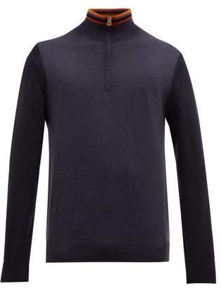 Paul Smith Artist Stripe Half Zip Merino Wool Sweater - Mens - Navy Multi
