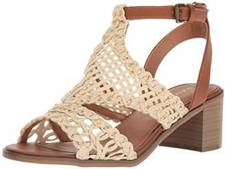 Rampage Women's Halsy Block Heel Crochet Open Toe Ankle Strap Sandal