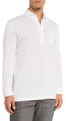 Ralph Lauren Men's Washed Long-Sleeve Pocket Polo Shirt, White