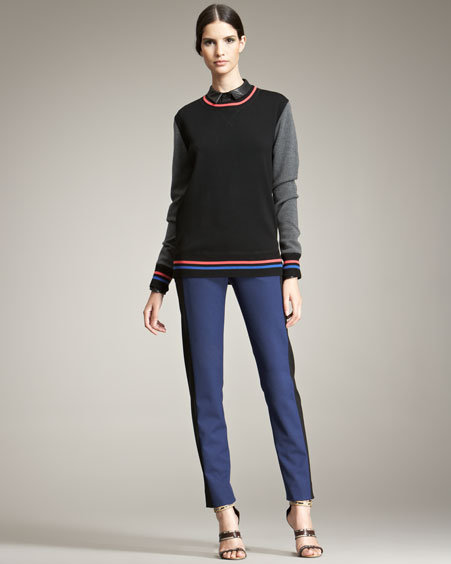 Jason Wu Varsity Colorblock Sweatshirt Sheer Silk Blouse & Pants
