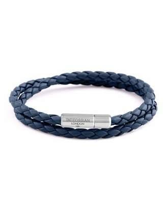 Tateossian Men's Braided Leather Double-Wrap Bracelet, Size M, Navy $195 thestylecure.com