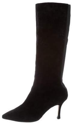 Manolo Blahnik Suede Knee-High Boots