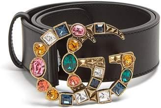 Gucci Crystal-embellished GG-logo 4cm leather belt