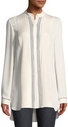 Elie Tahari Sydney Pleated-Bib Silk Tunic