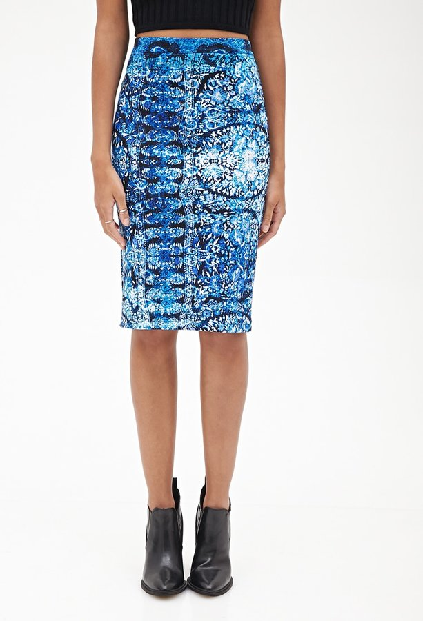 Forever 21 Abstract Scuba Knit Skirt