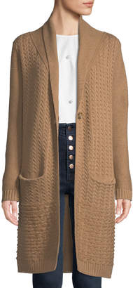Neiman Marcus Cashmere Mixed-Knit Duster Cardigan