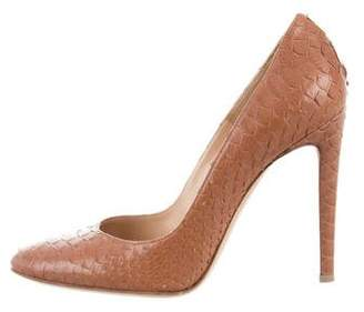 Gianvito Rossi Rounded-Toe Python Pumps