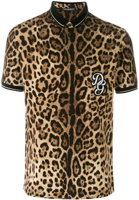 Dolce & Gabbana leopard print polo shirt with logo patch