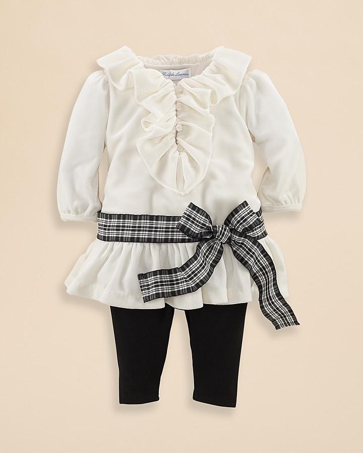 Ralph Lauren Infant Girls' Ruffle Tunic & Legging Set - Sizes 3-9 Months