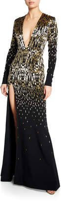Azzaro Embroidered V-Neck Long-Sleeve Gown