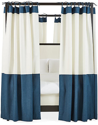 One Kings Lane Set of 8 Sophie Canopy Bed Panels - White/Navy